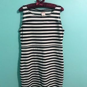 Merona brand Black and White stripped fitted dress
